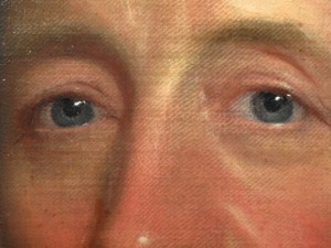 Details of the portrait attributed by Gilbert Stuart, Lot 134 of the July 25 sale at Neapolitan Public Auction
