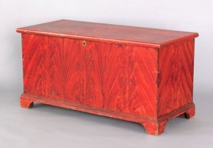Stunning color from a York County blanket chest, to be auctioned at Pook & Pook