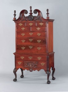 Philadelphia Queen Anne transitional carved mahogany scroll top high chest of drawers, ca. 1755 (Lot 417) at Pook & Pook