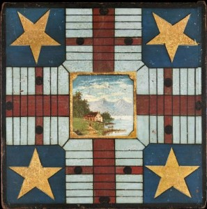James & Nancy Glazer. Game board. Circa 1890. New England. Intricate geometric designs surround a central landscape painting on this Parcheesi game board. (PRNewsFoto/Winter Antiques Show)