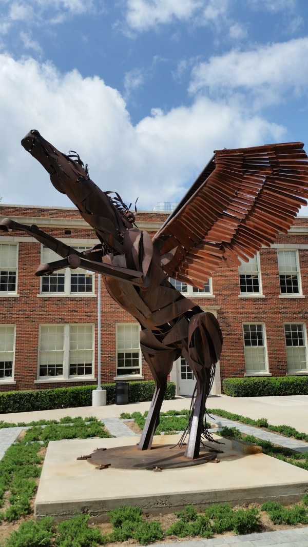 Oak Cliff Artist Stuart Kraft Created this steel Pegasus that stand in Downtown Dallas