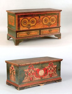 Top: a Leigh County dower chest; bottom: a chest illustrated in two books