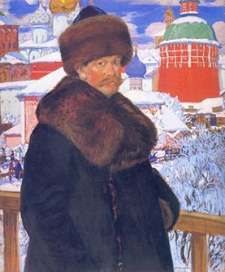 Boris Kustodiev- This self-portrait from 1912 is not the painting in question.