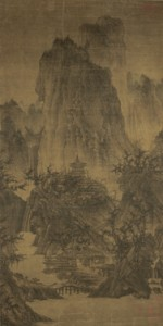 "Attributed to: Li Cheng , Chinese , 919-967 C.E. A Solitary Temple Amid Clearing Peaks, Northern Song Dynasty (960-1127) Image: 44 x 22 inches (111.76 x 55.88 cm) Overall (1-1/2"" hanging string): 88 x 22 1/2 inches inches (223.52 x 57.15 cm)  Hanging scroll, ink and slight color on silk Purchase: William Rockhill Nelson Trust"