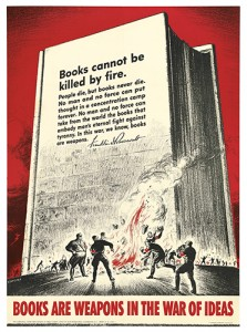 S. BRODER (DATES UNKNOWN) BOOKS ARE WEAPONS IN THE WAR OF IDEAS. 1942. 28x20 1/8 inches, 71x51 cm. U. S. Government Printing Office.  Lot 113 Estimated $400 to $600