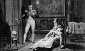 Mid nineteenth-century depiction of Josephine fainting after being told by Napoleon he will decree a divorce (to seek a male heir and royal alliance). Nineteenth century SourceArchives Nationales de France - Scan provenant de Science & Avenir n°745 - Mars 2009, page 15.