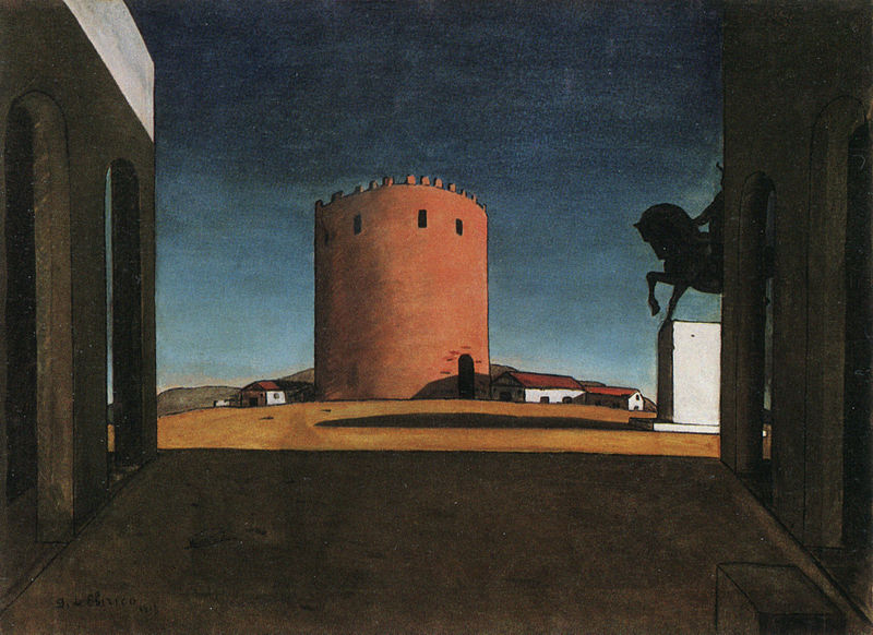 The Red Tower by Giorgio de Chirico. Oil on canvas, 1913. Guggenheim Museum (via Wikipedia)