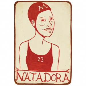 Lot 2010  Margaret Kilgallen  American, 1967-2001  Natadora  Acrylic on wood. Sold for $28,125 (Includes Buyer's Premium) Estimate $5,000-7,000