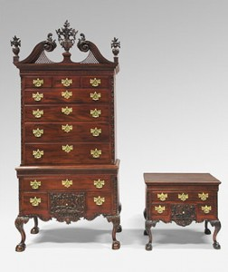 Left: High Chest of Drawers, 1765-75. American, Late Baroque with Rococo carving, Mahogany, yellow poplar, white cedar, yellow pine; brass.8 feet 3/4 inches x 46 1/2 x 25 3/4 inches (245.7 x 118.1 x 65.4 cm). Philadelphia Museum of Art, Gift of Mrs. Henry V. Greenough, 1957 Right: Dressing Table, 1765-75. American, Late Baroque with Rococo carving, Mahogany, yellow poplar, white cedar, yellow pine; brass. Height: 29 7/8 inches (75.9 cm), Width: 35 inches (88.9 cm), Depth: 23 1/4 inches (59