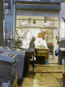 "Rosalyn Bodycomb, Modiano Market IV, 2010, oil on linen, 47x35"", photography by Michael Bodycomb, courtesy of Conduit Gallery"