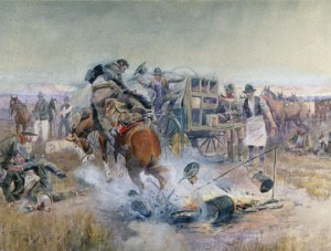 Charles M. Russell (1864–1926)  Bronc to Breakfast, 1908  Watercolor on paper Montana Historical Society, Mackay Collection X1952.01.06