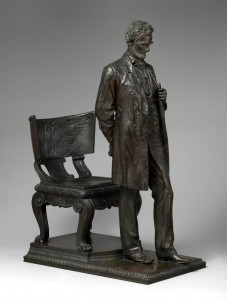 Augustus Saint-Gaudens (American, Dublin 1848–1907 Cornish, New Hampshire) Abraham Lincoln: The Man (Standing Lincoln), 1884-1887; reduced 1910; this cast 1911 Bronze 40 1/2 x 16 1/2 x 30 1/4 in. (102.9 x 41.9 x 76.8 cm) .The Metropolitan Museum of Art, Purchase, Tyson Family Gift, in memory of Edouard and Ellen Muller; The Beatrice G. Warren and Leila W. Redstone, and Maria DeWitt Jesup Funds; Dorothy and Imre Cholnoky, David Schwartz Foundation Inc., Joanne and Warren Josephy, Annette de la (Image: © The Metropolitan Museum of Art, New York)