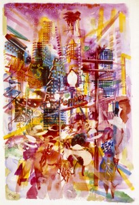A Dallas Night, 1952 George Grosz, German Watercolor on paper Sheet dimensions: 21 x 13 3/4 in. (53.34 x 34.925 cm) Dallas Museum of Art, Foundation for the Arts Collection, anonymous gift of A. Harris and Company in memory of Leon A. Harris, Sr.