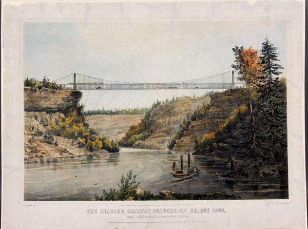 """Holloway, """"The Niagara Railway Suspension Bridge"""", lithograph by Endicott & Co., published by W.O. Buchanan, 1853, Offered from Kaminski Auctions"""