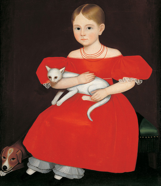 Girl in Red Dress with Cat and Dog, Ammi Phillips (1788–1865) via Wikipedia  Ammi Phillips – Collection American Folk Art Museum, New York