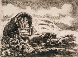 """Pioneers Resting"", a small etching was sold for more than $1000 in an auction house in 2004"