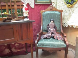 damask chair at Antiques Cafe