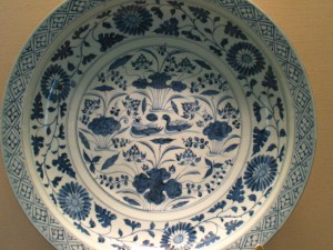 Yuan Yang Xi Shui, a Blue and White Plate From Yongle Period