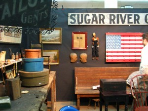 Antiques at Music Valley, Signs and baskets, all Americana