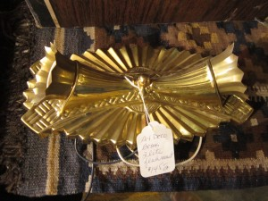 Two Bulb Art Deco Light Fixture Brass Helene Lys, Cavelier Lighting