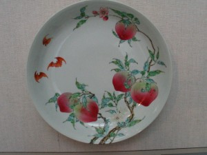 Bats and Peaches Plate (With Overglzed Enamels) From Yongzheng Period