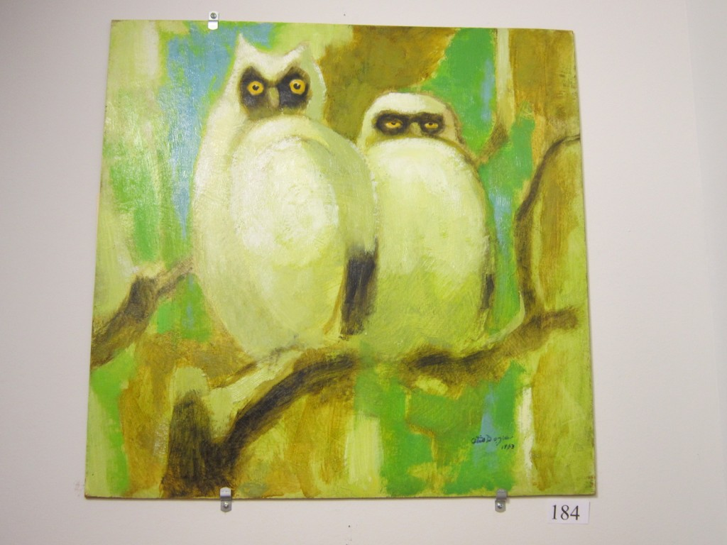 Young Owls, Otis Dozier 1963, Texas Art Auction David Dike Early Texas Art