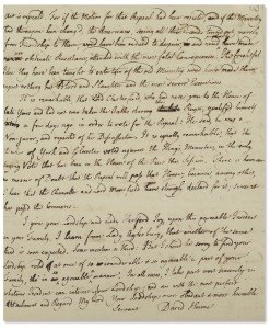 Swann Handwritten letter signed by David Hume to the Ambassador of Great Britian to France, the Earl of Hertford, discussing the repeal of the Stamp Act, 27 February 1766.