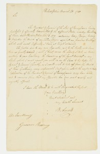 Swann Letter signed by Benedict Arnold as Major General in the Continental Army to Delaware Governor Caesar Rodney, hoping to clear his good name, Philadelphia, 20 March 1780.