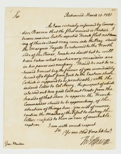 Swann Letter signed by Thomas Jefferson to Brigadier General George Weedon, informing him of the British fleet's arrival and requesting that lookouts keep Lafayette informed of developments, Richmond, 21 March 1781.