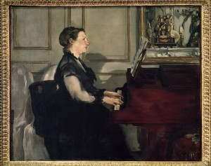 Édouard Manet (French, 1832–1883), Madame Manet at the Piano, 1868. Oil on canvas, 38 × 46.5 cm. Musée d'Orsay, Paris. Legs du comte Isaac de Camondo, 1911 Photo © 2011. White Images / Scala, Florence