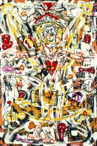 Alfonso Ossorio, Perpetual Sacrifice, 1949. Ink, wax, and watercolor on board, 40 x 30 in. National Gallery of Art, Washington, D.C.