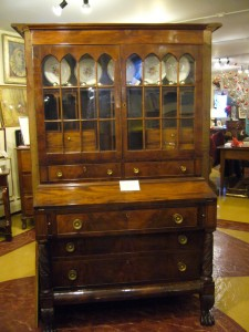 An American Classical Mahogany Secretary/bookcase at Main Street Antiques Center