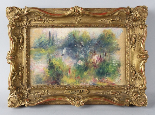 "Pictured is a long unviewed painting, Pierre-Auguste Renoir's ""Paysage Bords de Seine"", that was recently unknowingly purchased at a Virginia flea market and will be sold at The Potomack Company auction gallery in Alexandria, VA on September 29. The auction gallery estimates the painting will sell for $75,000-100,000. PR Newswire (http://s.tt/1mzDN)"