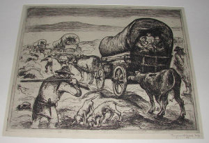 "One of the more than 200 etchings offered on eBay (180390114270), similar to ""Pioneers Resting"""