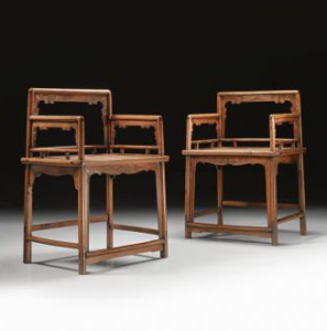 Qing Dynasty Low-back Armchairs at Sotheby's
