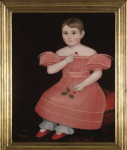 A rosy-cheeked girl in pink dress by Ammi Phillips offered at Sotheby's