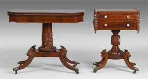 Lot 145: Card Table and Sewing Stand, attributed to Joseph Barry from Cottone Auction