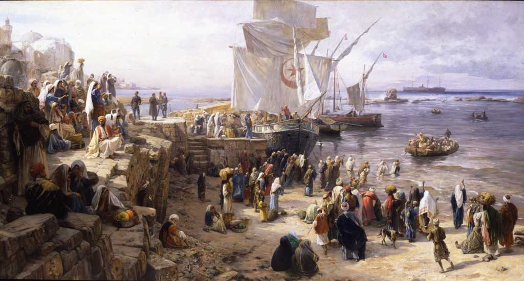Jaffa, Palestine by Gustav Bauernfeind  (1888) 58 1/4 x 110 3/4 inches © Dahesh Museum of Art, 1999.4
