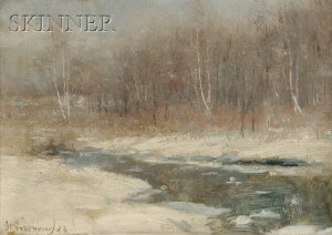 Brook in Winter by Joseph Greenwood, offered by Skinner