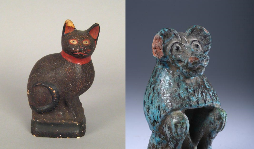 Chalk Figure of a Cat offered at Pook  & Pook (left), Egyptian Turquoise Faience Figure of a Baboon  at Sloans and Kenyon (right)