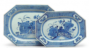 A pair of blue and white Chinese platters, dated around 1720, at Christie's