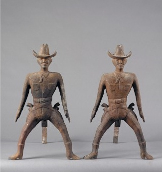 Pair of Cast-Iron Cowboy Andirons at Keno Auctions
