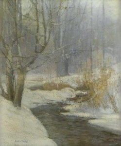 Freeman's Sale 1340 - Lot 80  ANN CRANE (american 1881-1948) RIVER IN WINTER Signed 'ANN CRANE' bottom left, oil on canvas 26 x 22 in. (66 x 55.9cm)