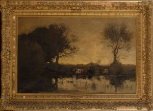 """Theophile DeBock, """"Cattle by the Pool at Sunset"""", Deaccessioned from the Brooklyn Museum"""