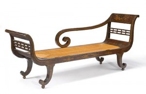 a Federal faux rosewood and gilt stencil decorated Recamier