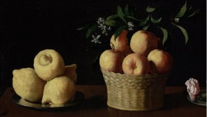 """Partial of """"Still Life with Lemons, Oranges and a Rose"""" by Francisco de Zurbarán, collection of the Norton Simon Museum"""