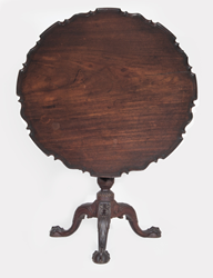 The Potter-Crouch-Jordan Family Chippendale mahogany tea table, a rare survival of Pre-Revolutionary craftsmanship signed by one of the more well-known Philadelphia cabinetmakers, Henry Clifton.