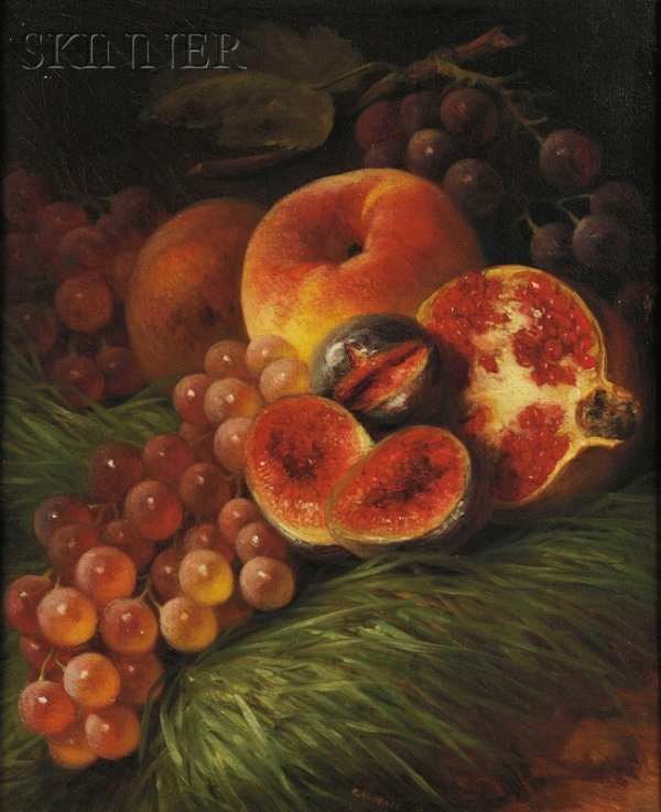 Still Life by George Henry Hall in 1862, estimated between $700 to $900 and sold for $6500 at Skinner's Auction