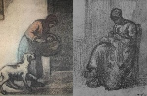 Left: The Hungry by Eugene Higgins, Right: Woman Sewing by Jean-Francois Millet