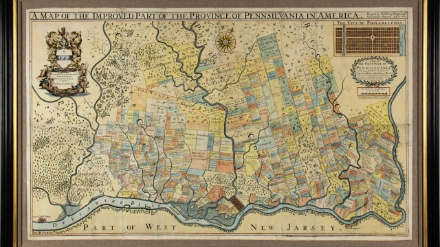 """Thomas Holme's extremely rare 1687 map of Pennsylvania, called the """"greatest of early American maps."""" The detailed map is one of eight copies known and the only one in private hands."""